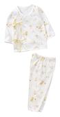 童裝 台灣現貨 純棉小寶寶白底側開上衣+長褲套裝組-黃色【60002-2】