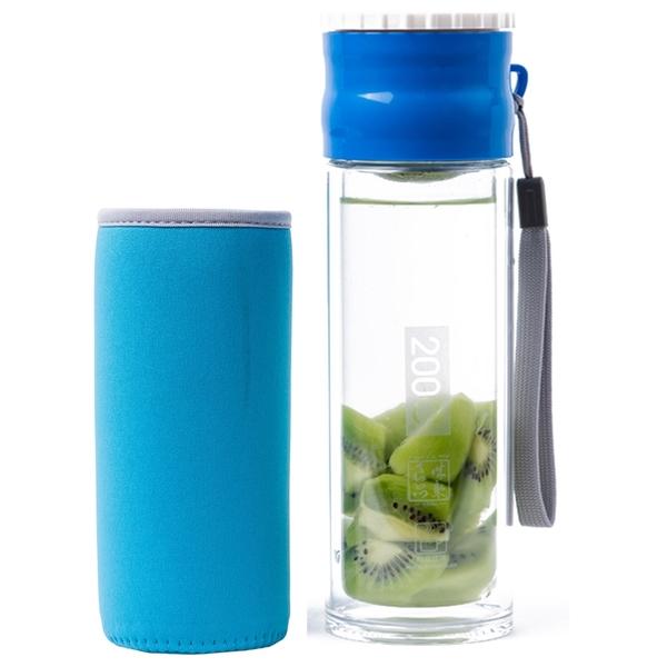 Artist 雙層耐熱附杯套不鏽鋼玻璃泡茶杯/隨身瓶260ml-藍色(MF0336AB)