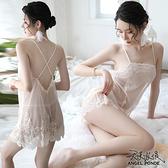天使波堤【LD0523】透視冰感網紗美背連身睡裙大尺碼居家睡衣蕾絲罩衫死庫水二件式-膚色