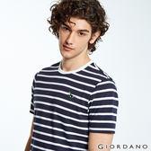 【GIORDANO】男裝圖案刺繡純棉短袖T恤-92 標誌白/標誌海軍藍