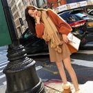 新款秋冬時尚小清新套頭紅毛衣女慵懶風毛呢短裙甜美兩件組