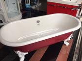 【麗室衛浴】美國 KOHLER  CLEO 獨立式鑄鐵浴缸 K-11195T-RF 內白外紅  尺寸1750x800x526mm