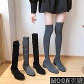 長靴女 長靴女過膝秋冬新款百搭粗跟彈力襪靴瘦瘦高筒小個子高跟顯瘦 快速出貨