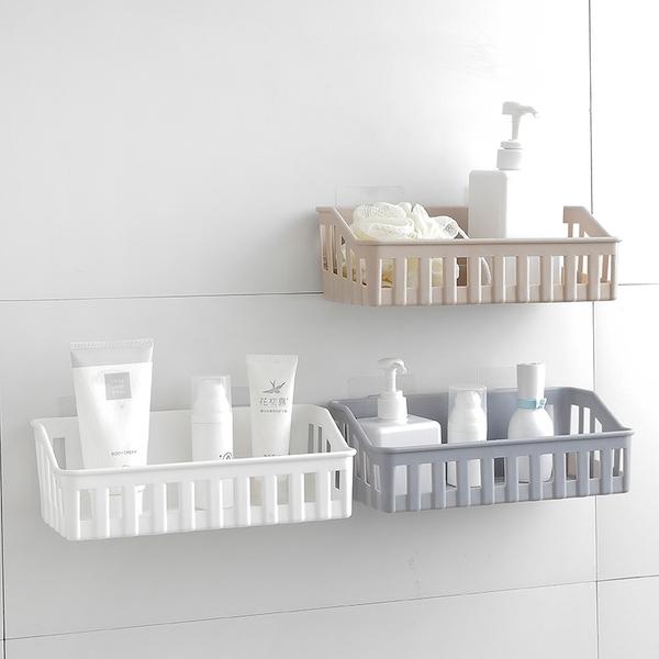 泰博思 免釘 免打孔壁掛收納籃 置物盒 整理盒 儲物籃 瀝水藍 浴室 【F0357】