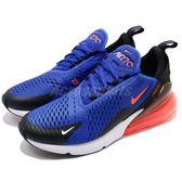 Nike 慢跑鞋 Air Max 270 藍 橘 大氣墊 大型後跟氣墊 舒適緩震 運動鞋 男鞋【PUMP306】 AH8050-401