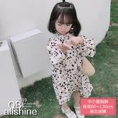 女童洋裝 小碎花色蓬蓬袖日系公主連身裙 QB allshine