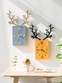 掛鐘掛鐘客廳北歐簡約時鐘電子鐘掛墻家用鐘飾創意鹿頭掛表餐廳裝 大宅女韓國館YJT