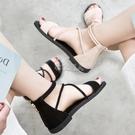 羅馬涼鞋女夏季新款平底綁帶百搭學生韓版休閒時尚沙灘鞋 快速出貨
