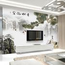 3d電視背景墻壁紙影視墻裝飾客廳中式水墨...