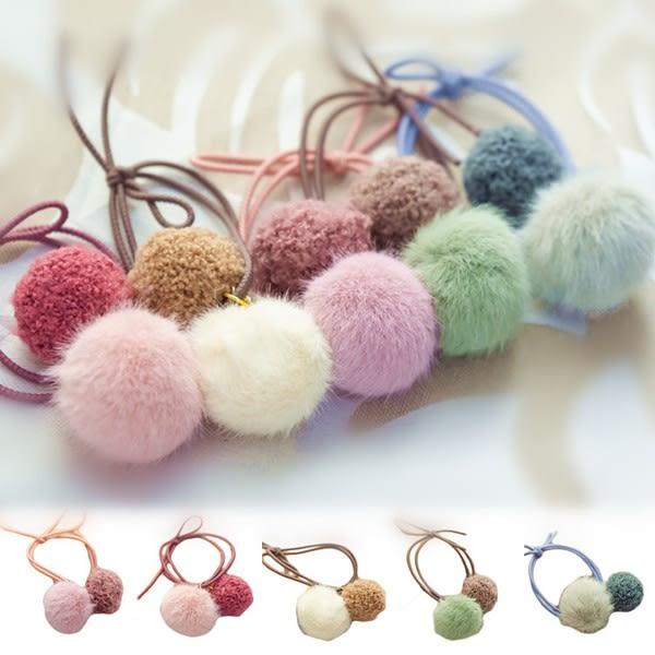 QQ雙毛球髮圈(1入)【小三美日】髮飾/顏色隨機出貨