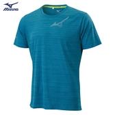 MIZUNO 男裝 短袖 上衣 T恤 慢跑 路跑 吸汗快乾 反光燙印 沼綠【運動世界】J2TA000537
