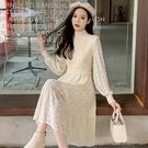 第二件4折 韓系赫本風麻花針織拼接蕾絲裙...