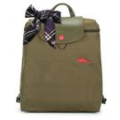 Longchamp 1699 LE PLIAGE 奔馬刺繡折疊尼龍後背包(橄欖綠-含帕巾)480210-A23
