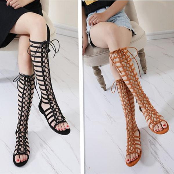 羅馬涼鞋 波西米亞羅馬長筒靴交叉綁帶涼鞋平底露趾沙灘鞋系帶涼靴 巴黎春天