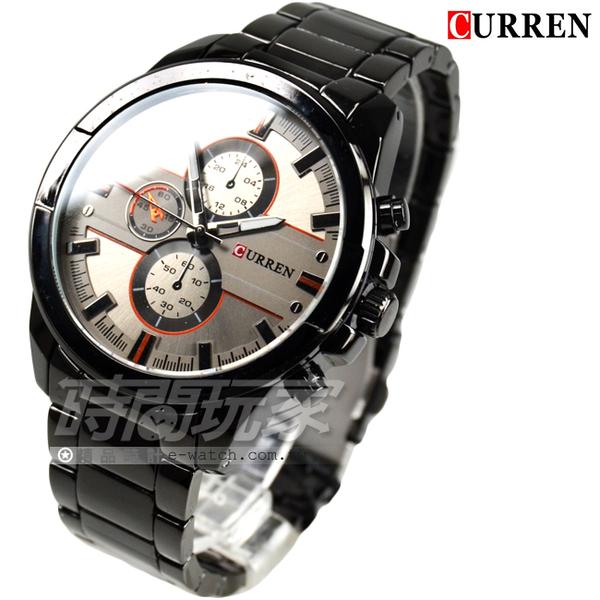 CURREN 卡瑞恩 帥氣簡約時刻三眼造型大錶徑男錶 防水手錶 學生錶 黑 CU8274槍灰
