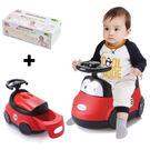 【奇買親子購物網】baby hood 小汽車座便器+Nac Nac 嬰兒全棉乾濕二用巾80抽*1盒