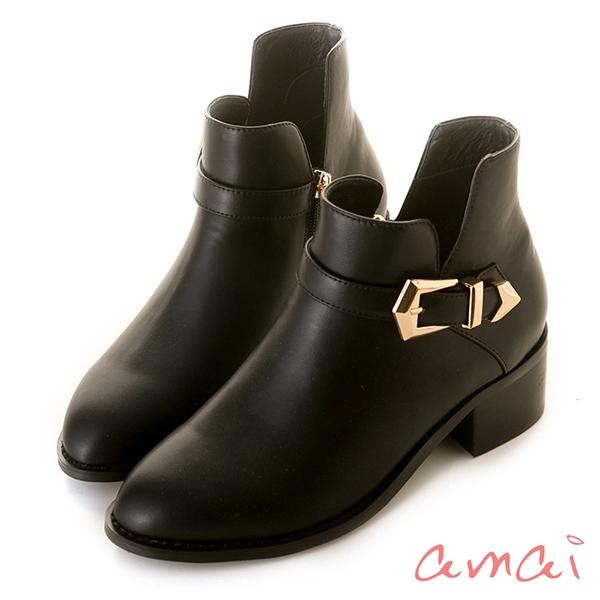 amai 《Lisa莉莎》五角金屬釦木紋粗跟踝靴 黑