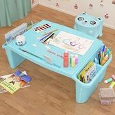 寶寶塑料床上小書桌幼兒學生寫字學習桌兒童多功能玩具吃飯小桌子 NMS 幸福第一站