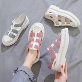 母親節禮物 包頭 涼鞋女潮鬆糕厚底鏤空羅馬鞋學生百搭夏季