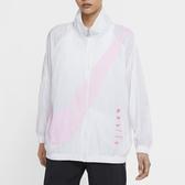 NIKE NSW SWOOSH JACKET 風衣外套 白色 立領 大勾 粉紅小勾 女款 DA0981-100