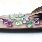 易晶緣水晶碎石天然八面螢石原石擺件小顆粒礦石標本原石裸石紫綠