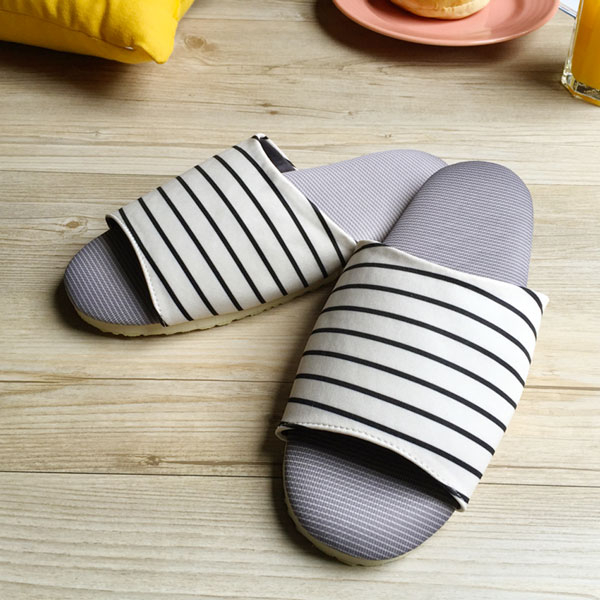 台灣製造-療癒系-舒活布質室內拖鞋-純白條紋