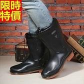男雨靴-男雨具時尚純色可拆卸棉套休閒男中筒雨鞋67a50【時尚巴黎】