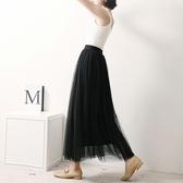夏高腰加肥加大碼黑色紗裙女半身中長款網紗裙夏蓬蓬裙a字裙