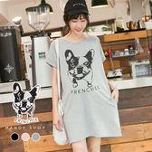 *蔓蒂小舖孕婦裝【M8185】*台灣製.可愛印刷法鬥狗狗口袋洋裝