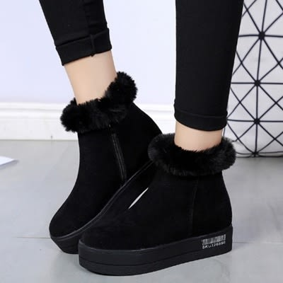 低筒雪靴-時尚流行簡約百搭女厚底靴子2色73kg60[巴黎精品]