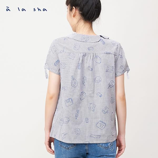 a la sha Qummi 設計助理的日常格紋印花短袖襯衫