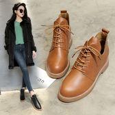馬丁靴女英倫風高筒圓頭百搭平底棉靴短靴 加絨學生粗跟靴子潮韓小姐