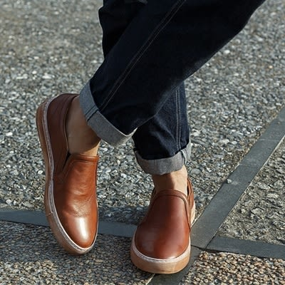 真皮短靴-套腳擦色做舊懶人休閒男靴子2色73kk41[巴黎精品]