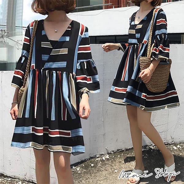 孕婦裝 MIMI別走【P52860】波希米亞風 彩條雪紡連身裙 短洋裝