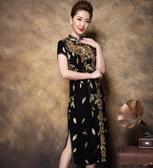 中大尺碼旗袍 禮服刺繡優雅短袖連身裙 2色 M-8XL #yr001 @卡樂@