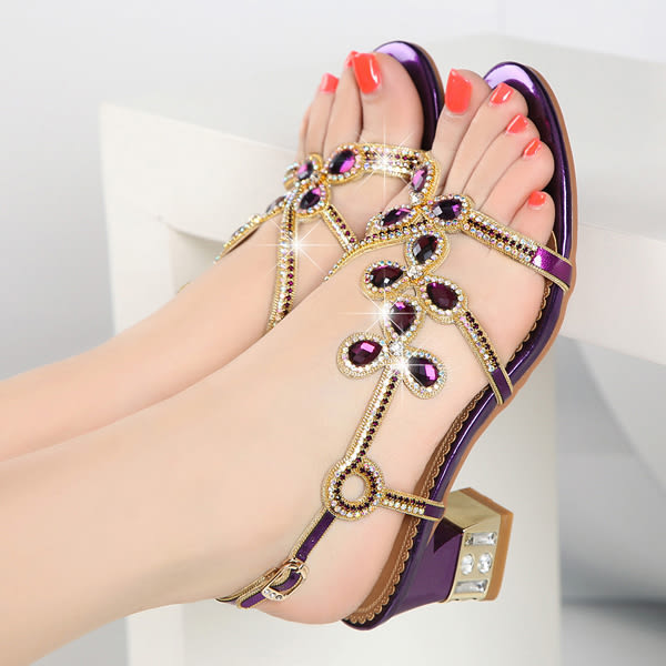 中跟鑲鑽涼鞋 女水鑽羅馬鞋【多多鞋包店】z2333