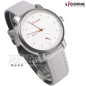 LICORNE 力抗 任意搭配 屬於你獨一無二的錶 真皮 白面金x灰色 女錶 LT124LWWR+LT124LNCL