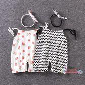 短褲 夏季女寶寶吊帶褲 褲子純嬰兒吊帶褲子夏裝短褲女嬰幼兒衣服棉0-1 2色