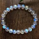 李福生斯里蘭卡天然藍月光石手鏈冰種水晶手串 女款飾品彩月光石手鏈ins小眾設計7.5mm單圈