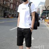 夏季男士短袖T恤韓版休閒套裝2019新款帥氣潮夏天兩件套一套衣服  【PINKQ】