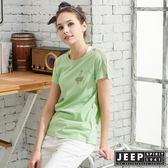 【JEEP】女裝拼接圓領T恤-綠色