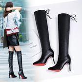 尖頭細跟過膝靴子秋冬高跟長筒靴皮靴加絨保暖百搭性感女靴子