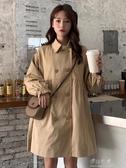 秋裝韓版新款寬鬆中長款時尚雙排扣翻領INS長袖風衣外套女裝 伊莎公主