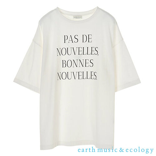 「Autumn」PAS DE NOUVEELES標語落肩寬鬆剪裁短袖T恤 - earth music&ecology