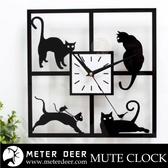 創意時鐘 可愛窗戶貓咪情境款三層立體鏡面質感靜音掛鐘 四格漫畫 毛小孩喵星人寵物-米鹿家居