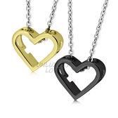 項鍊 正白K飾「心連心」愛心 附鋼鍊 隨意組合*單個價格*