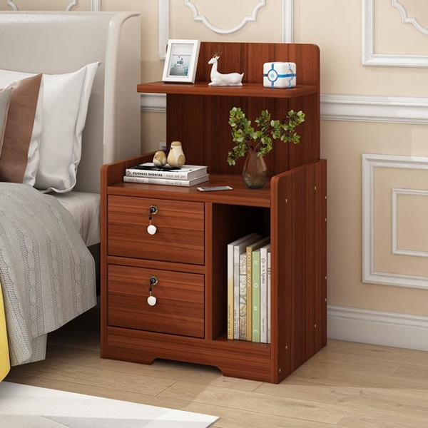簡易床頭柜收納置物架臥室床邊柜現代簡約小型組裝帶