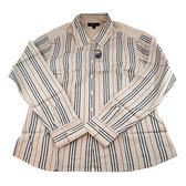 【奢華時尚】BURBERRY 經典米色直條紋女用L號襯衫(全新未使用)#24027