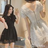 蕾絲洋裝中長款女裝新品網紗鉤花韓版短袖打底裙
