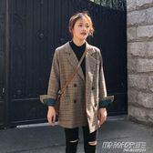 秋季新款ins格紋西服韓版學生寬鬆復古格子chic小西裝外套女     時尚教主